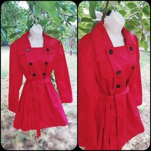 Sexy Pinup Red Midi Trench Coat